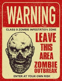 Плакат знак зомби вспышка доска