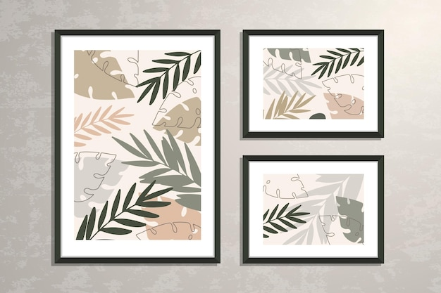 Posters collection with abstract botanical shapes and leaves