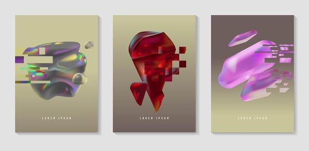 ポスター、グリッチ効果のあるカバー、バウハウスの流体の形。プラカード、バナー、チラシの抽象的な未来的なヒップスターデザインセット。ベクトルイラスト