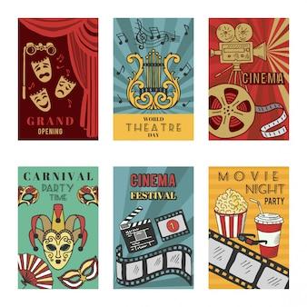 Дизайн плакатов с символикой театра и кино. векторные иллюстрации изолят