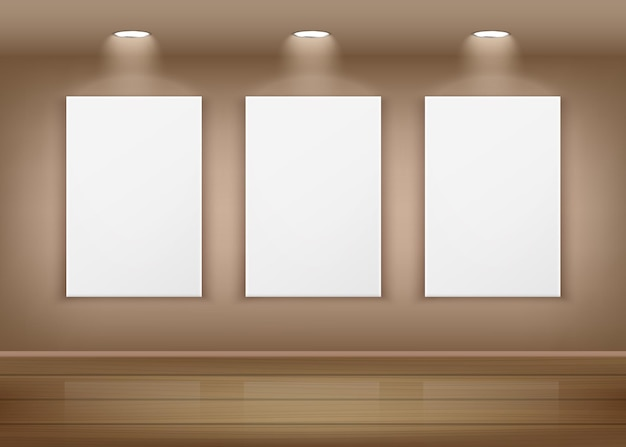 Posters or empty white pictures hanging on wall in art gallery interior
