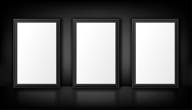 Posters  isolated on black. white lightbox. empty advertising .  realistic illustration