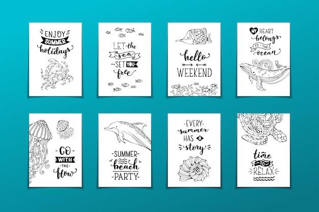 Набор плакатов. рукописные цитаты и фразы. дикие подводные животные, рыбы и растения.