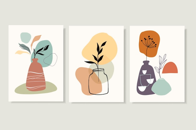 Posters wall art set with different leaves in vase