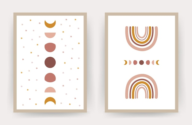 Posters with abstract rainbow and moon. scandinavian design for home decor.
