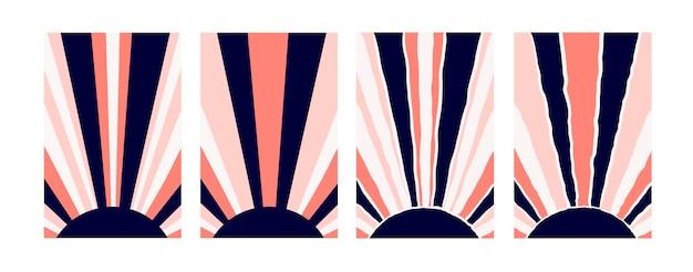 Постеры с абстрактным солнцем, нарисованным от руки в стиле бохо