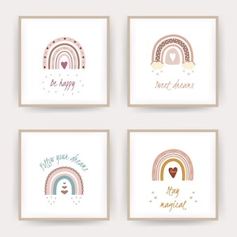 Posters with boho rainbows. lettering sweet dreams and be happy.