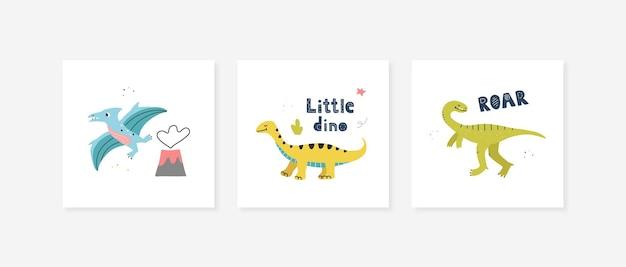 Плакаты с милыми динозаврами. векторный дизайн для детской комнаты, поздравительные открытки, футболки.