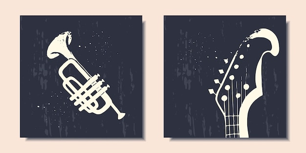 Posters with musical instruments abstract saxophone abstract guitar modern art