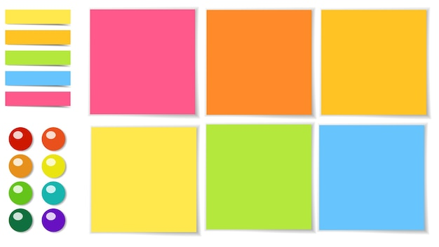 Postit glue sticky paper colorful for writing a reminder message.
