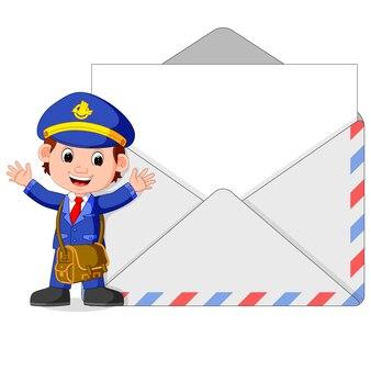 Postman cartoon with big letter