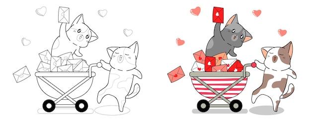 郵便配達員の猫とラブレターの漫画は簡単にページを着色します