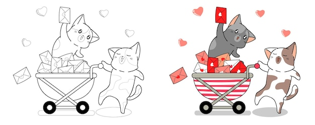 Postman cats and love letter cartoon easily coloring page