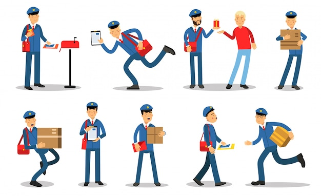 Postman characters in different situations set. mailmen in different situations doing their job cartoon   illustrations