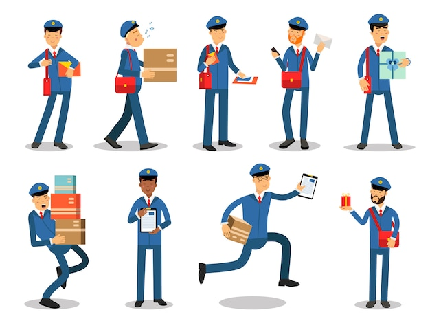 Postman characters doing their job set. cheerful mailmen in different situations cartoon   illustrations