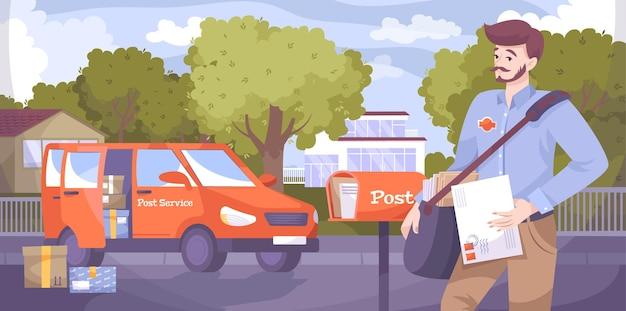 Плоская композиция почтальона на открытом воздухе уличные пейзажи с почтальоном, доставляющим письма и посылки с иллюстрацией фургона