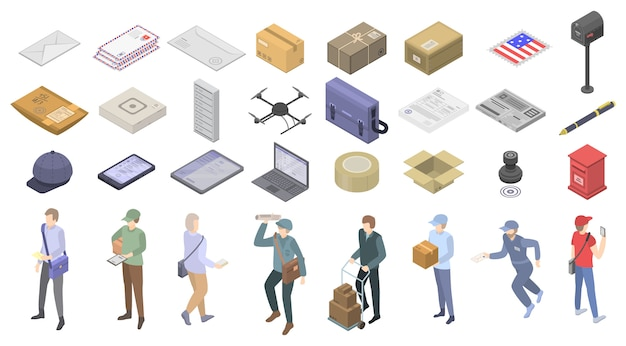 Postman icons set, isometric style