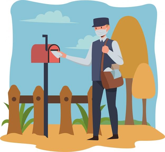 Postman is delivering letter while using medical mask