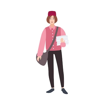 Postman, mailman, post or mail carrier, postal worker, messenger with bag and newspapers. funny male cartoon character isolated on white background. colorful vector illustration in flat style.
