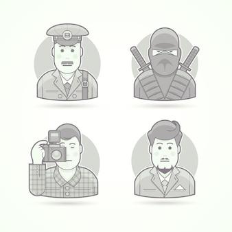 우편 배달부, 닌자 전사, 사진 작가, 비즈니스 사람 아이콘. 캐릭터 초상화 삽화의 집합입니다. 흑백 윤곽선 스타일.