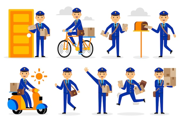 郵便配達員の職業文字セット
