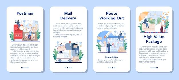 우편 배달 직업 모바일 응용 프로그램 배너 세트입니다. 우편 서비스를 제공하는 우체국 직원, 편지 및 택배 수령, 우표 판매.