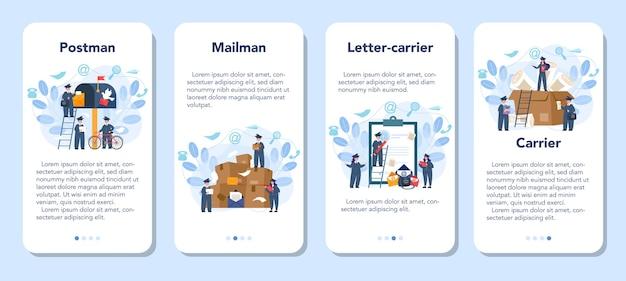 Postman profession mobile application banner set