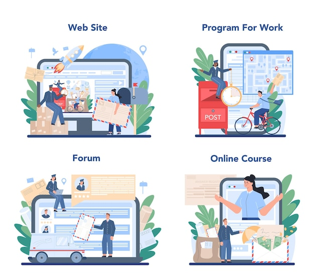 Postman profession online service or platform set. post office staff providing mail service, accepting of letter and package. online forum, course, website.
