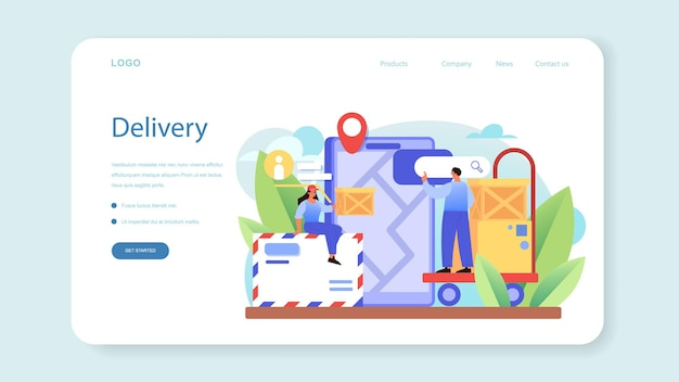 Postman profession web banner or landing page. post office staff providing mail service, accepting of letter and package, selling postage stamp. isolated flat vector illustration