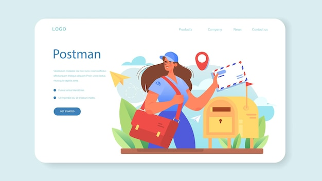 Postman profession web banner or landing page post office staff