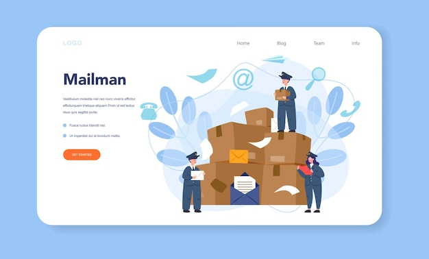 Postman profession web template or landing page. post office staff providing mail service, accepting of letter and package, selling postage stamp.