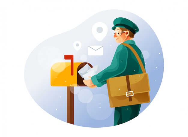 Postman puts the letter in the mailbox