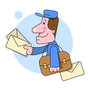 Postman runs delivering letter illustration on white