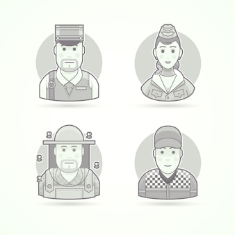 Postman, stewardess, air hostess, beekeeper, car racer. set of character, avatar and person  illustrations.  black and white outlined style.