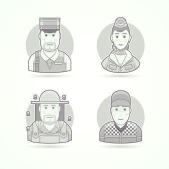 郵便配達、スチュワーデス、航空ホステス、養蜂家、カーレーサー。キャラクター、アバター、人のイラストのセットです。黒と白のアウトラインスタイル。
