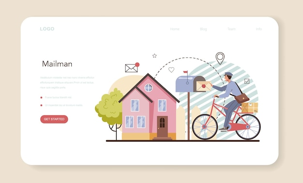 Postman web banner or landing page. post office staff providing mail service, accepting of letter and package. delivery and international comunication. isolated flat vector illustration