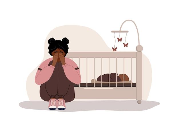 Postpartum depression. african mother needs psychological help. Premium Vector