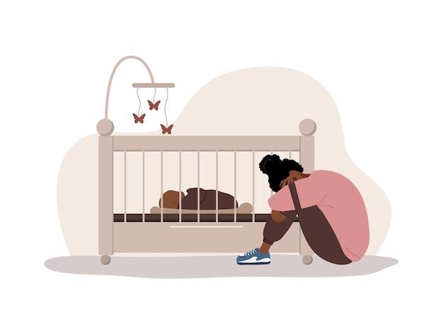 산후 우울증. 아프리카 지친 엄마는 심리적 도움이 필요합니다.
