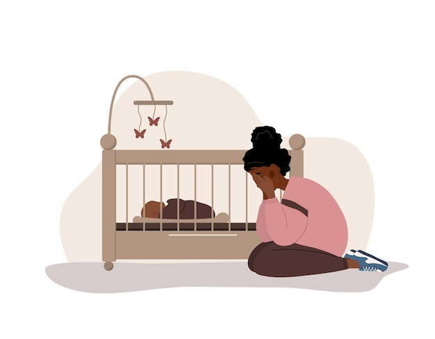 Postpartum depression. african tired woman. mood disorder.