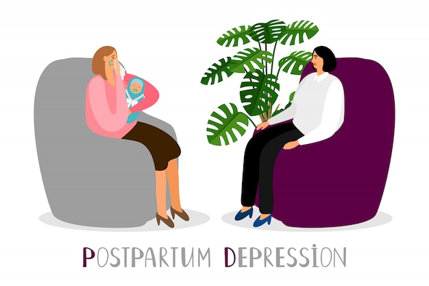 Postpartum depression. crying mother with newborn. psychoterapy for new parents concept