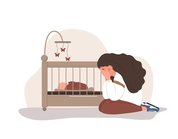 Postpartum depression. young mother needs psychological help.