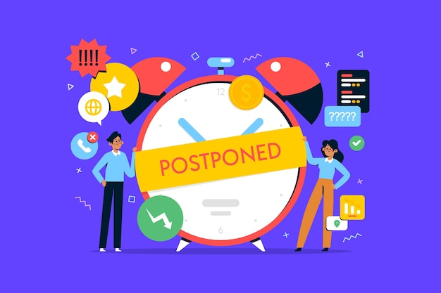 Postponed concept in flat design
