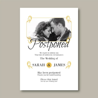Postponed elegant wedding card with photo