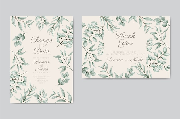 Postponed floral wedding invitation card