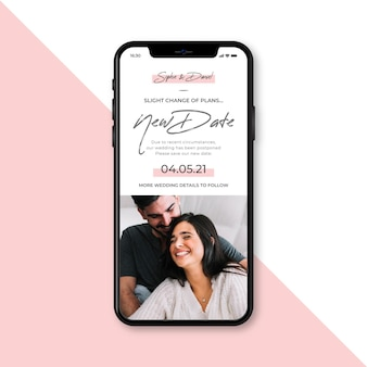 Postponed wedding announce on mobile concept