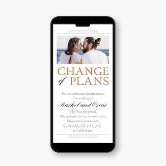 Postponed wedding announce on mobile format concept
