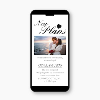 Postponed wedding announce on mobile format design