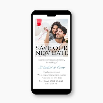 Postponed wedding announce on mobile format theme
