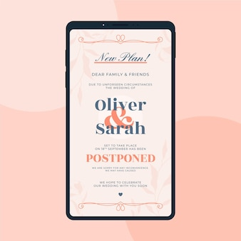 Postponed wedding announce on mobile format
