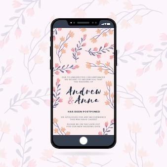 Отложено свадебное объявление о мобильной концепции